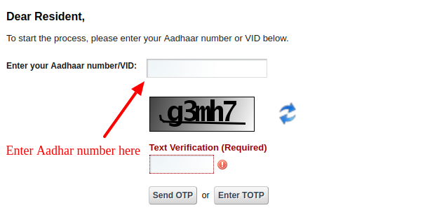 Correction form for Aadhaar Card