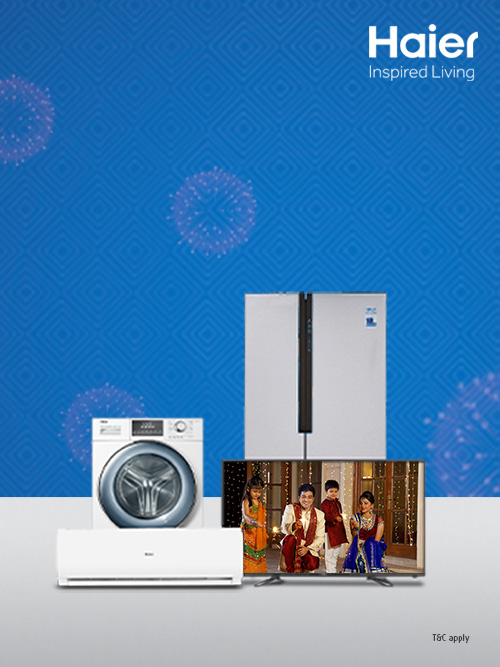 Shop for latest Haier appliances on fixed EMI of Rs. 2019